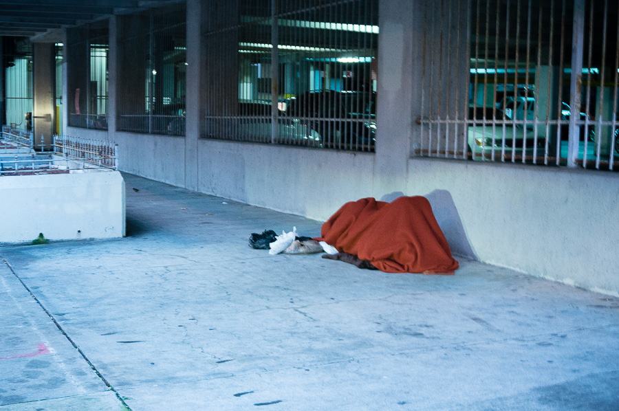 Homeless person on Luckie Street