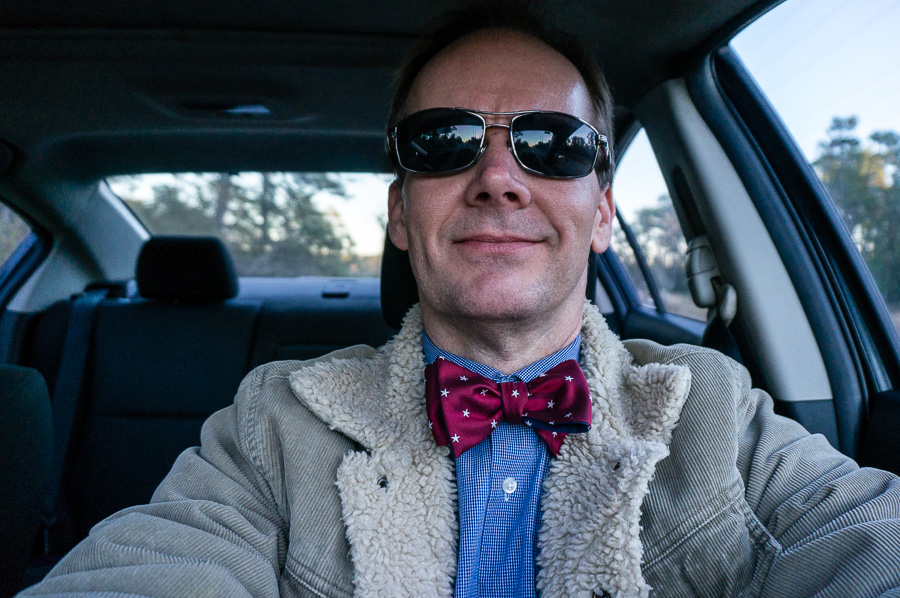 Bow Ties Tuesday in the car