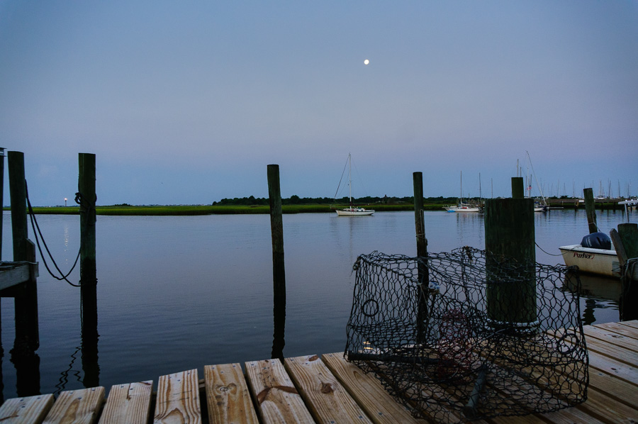moon lit harbor