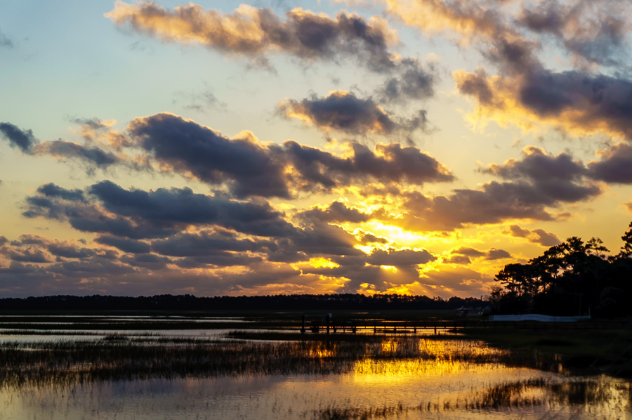 Cloudy Sunrise over the Marsh