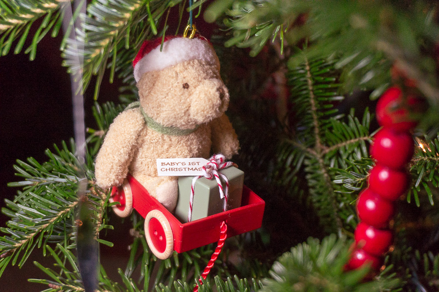 Bear in a wagon ornament