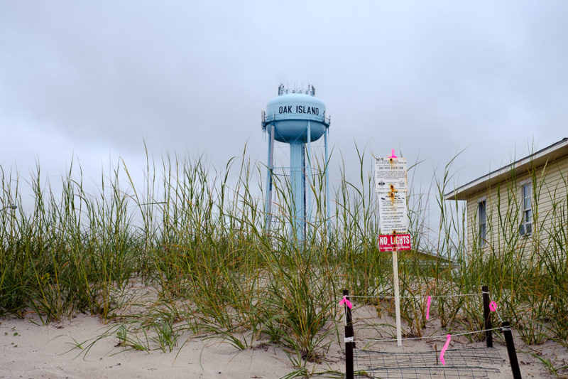 A sea turtle nest with an Oak Island water tower in hte back ground.