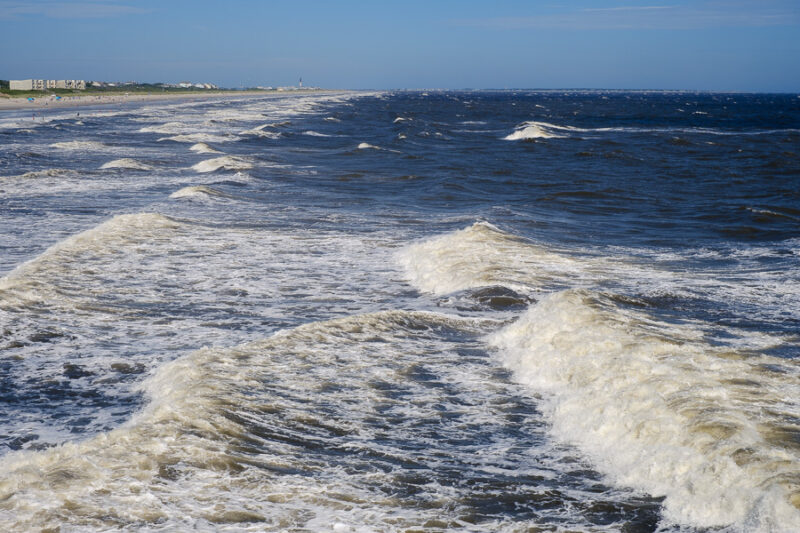 Waves from the Oak Island Pier.
