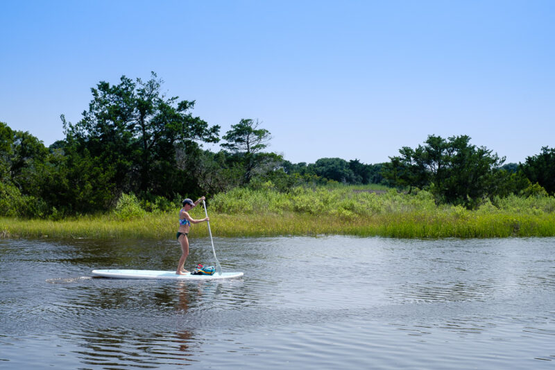 Paddle boarder on the canal.