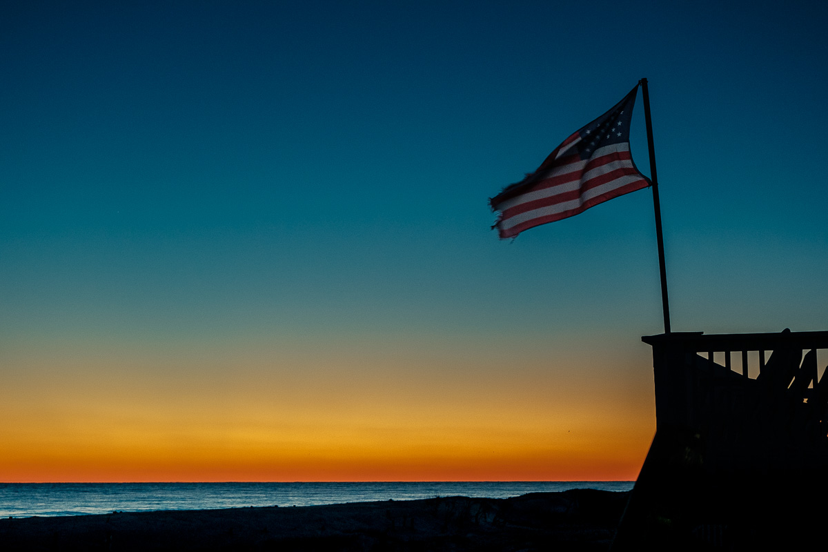 US flag just after sunset.